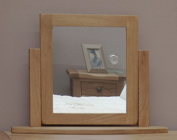 Country Rustic Oak Dressing Table Mirror