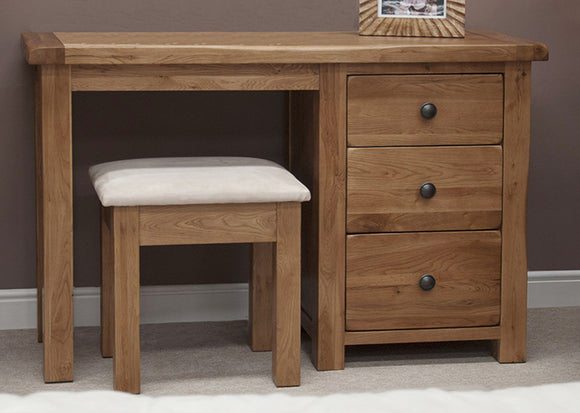 Country Rustic Oak Dressing Table and Stool