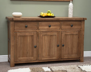 Country Rustic Oak Large Sideboard