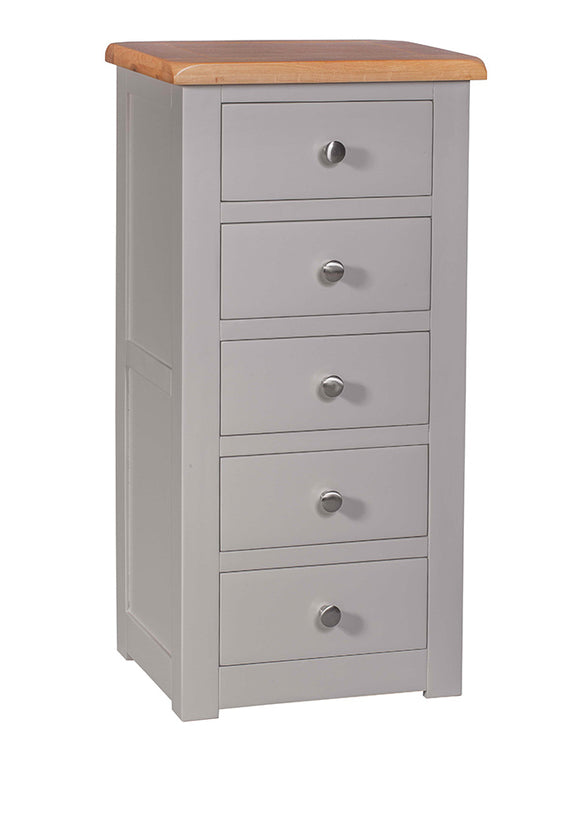 Amberley Grey Painted and Oak 5 Drawer Chest