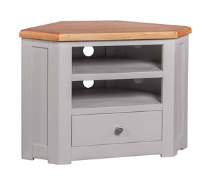 Amberley Grey Painted and Oak Corner TV Cabinet