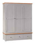 Amberley Grey Painted and Oak Triple Wardrobe