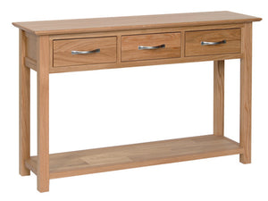 Essential Oak 3 Drawer Console Table