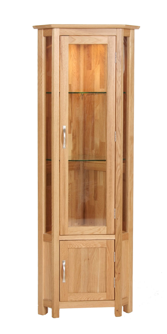 Essential Oak Corner Display Cabinet