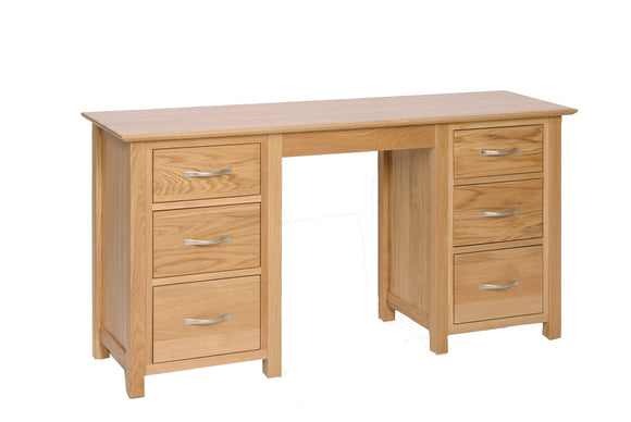 Essential Oak Double Pedestal Dressing Table