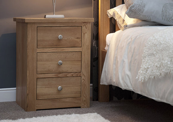 Fernhurst Oak 3 Drawer Narrow Bedside