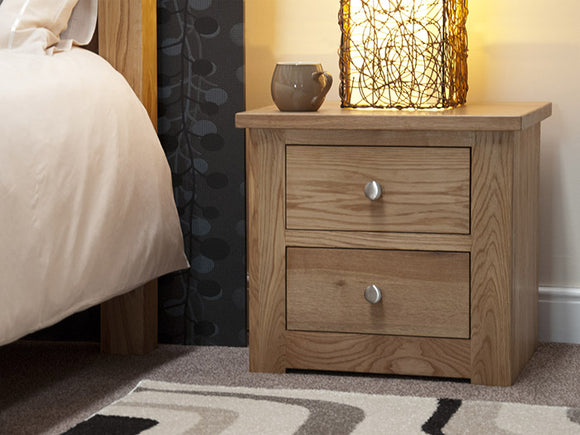 Fernhurst Oak 2 Drawer Narrow Bedside