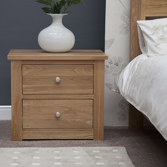 Fernhurst Oak 2 Drawer Wide Bedside