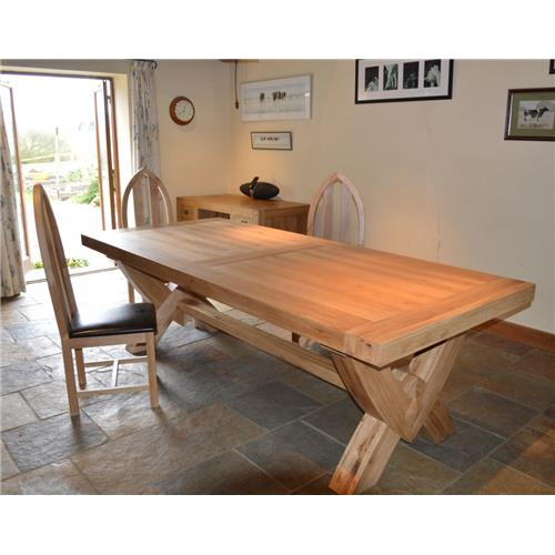 Bergerac Solid Oak Grand Oxbow Fixed Top Table