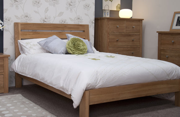 Midhurst Oak Linear Slatted Superking Size Bed