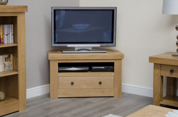 Lyon Solid Oak Corner TV Unit