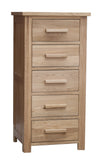 Midhurst Oak 5 Drawer Narrow Chest of Drawers