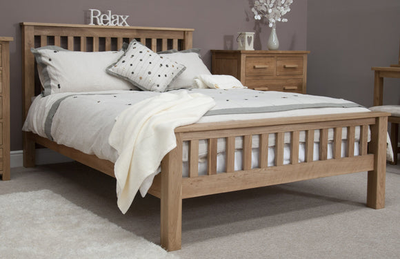 Midhurst Oak Slat Double Bed with High Foot End