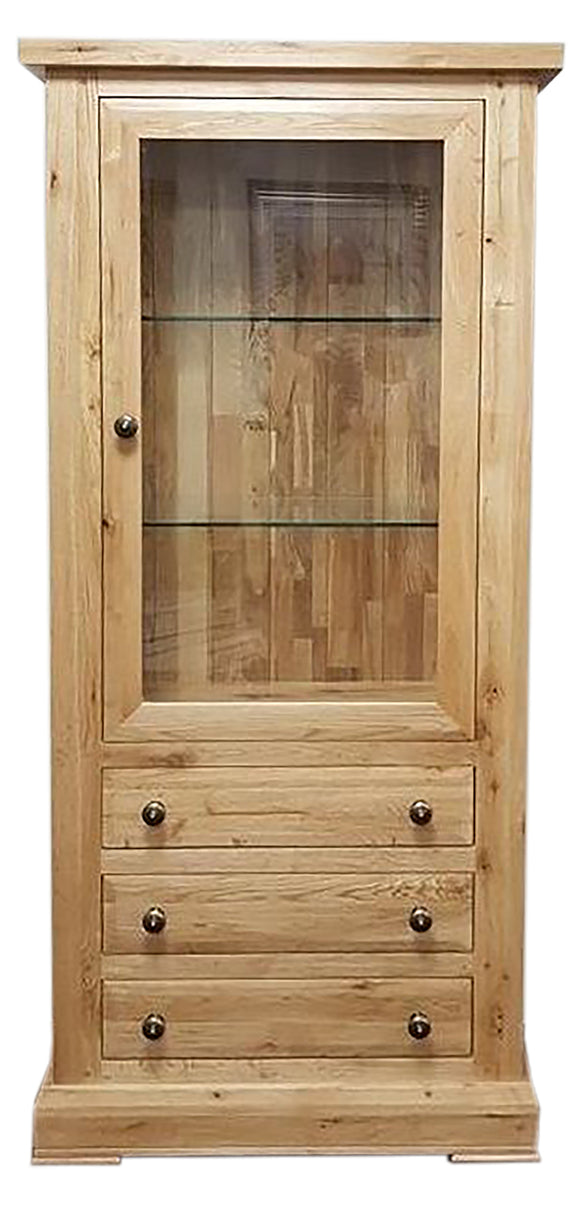 Bergerac Solid Oak 1 Door 3 Drawer Glazed Display Cabinet