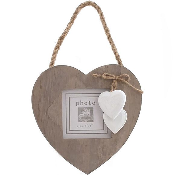 Driftwood Single Heart Hanging Frame
