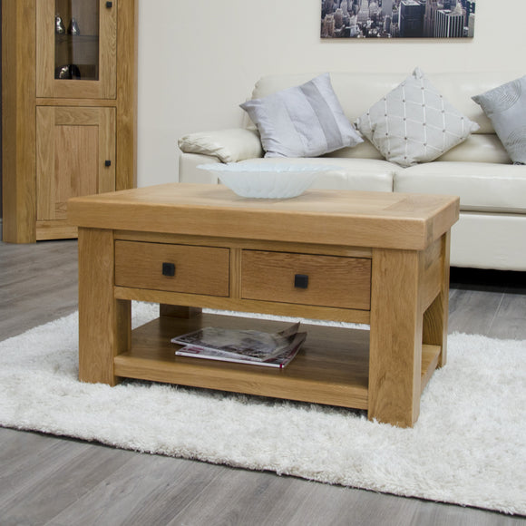 Lyon Solid Oak Coffee Table With Drawers