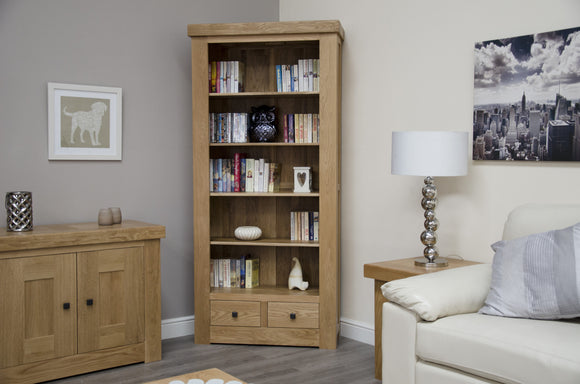 Lyon Solid Oak Large Bookcase With Drawers