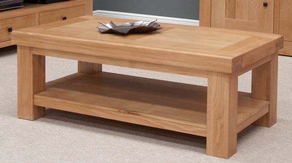 Lyon Solid Oak Coffee Table With Shelf