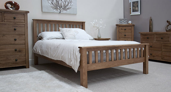 Country Rustic Oak Double Bed