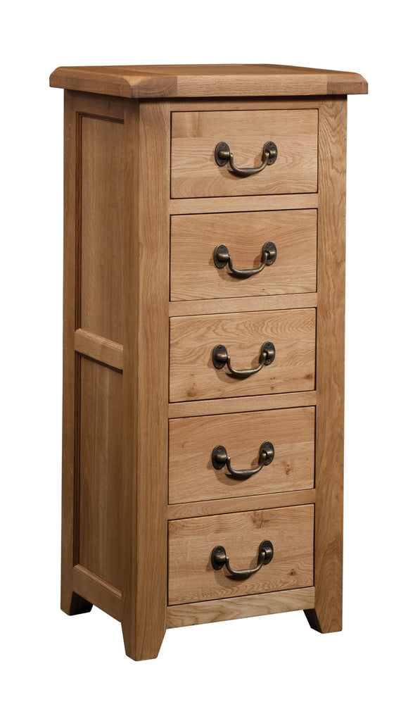 Salcombe Oak 5 Drawer Wellington