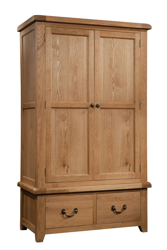Salcombe Oak Wardrobe With 2 Drawers