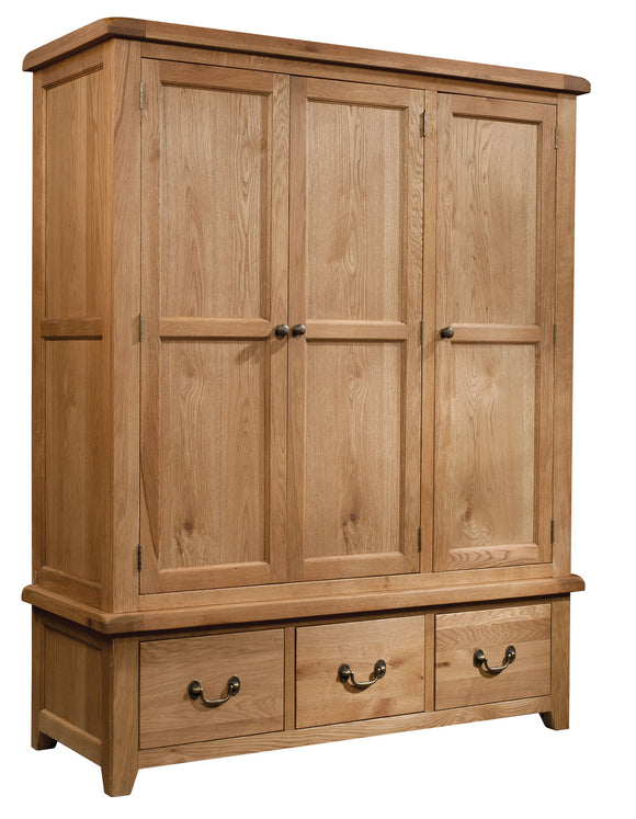 Salcombe Oak Triple Wardrobe