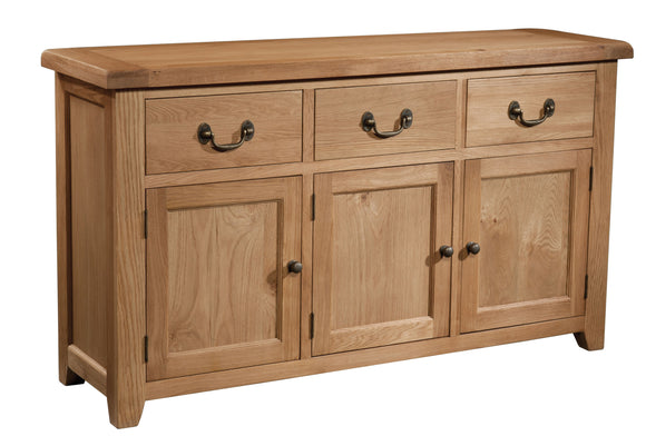Salcombe Oak 3 Door 3 Drawer Sideboard - What Nots Online