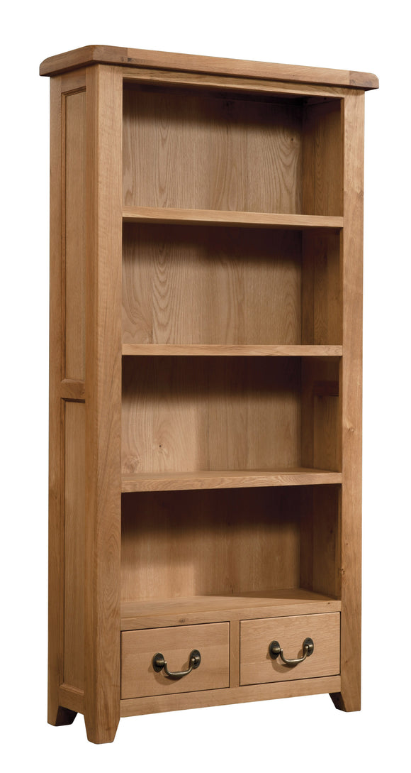 Salcombe Oak Bookcase Tall Wide