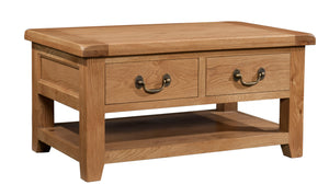 Salcombe Oak Coffee Table With 2 Drawers
