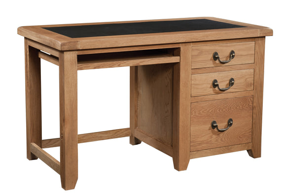 Salcombe Oak Office Desk with PU Leather Insert Top