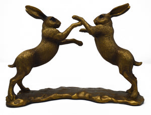 Boxing Hares Figurine