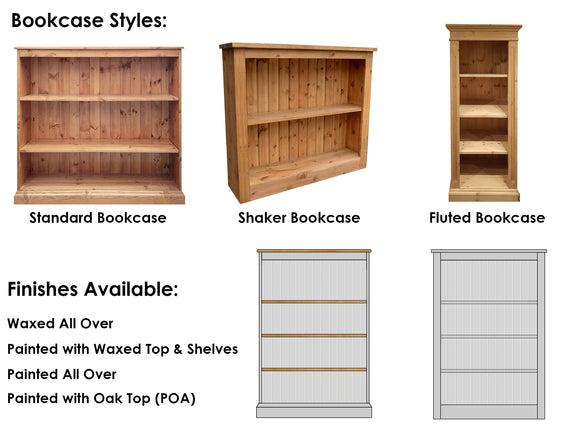 Wiltshire Made To Order Bookcases (choose size & finish)