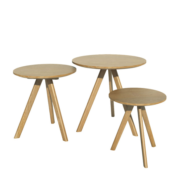 Copenhagen Oak Round Nest of Three Tables