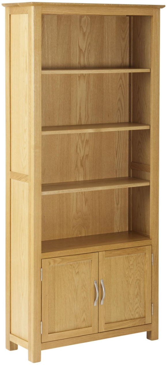 Stockholm Oak Bookcase With Cupboard