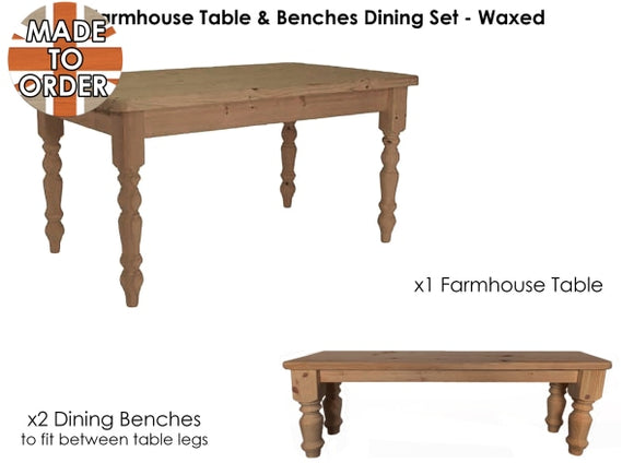 Nottingham Farmhouse Table And Two Benches Set Waxed / 4Ft X 3Ft With X2 To Fit Between Table Legs