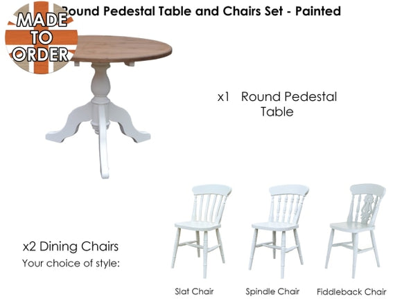 Nottingham Round Table And Chairs Set Waxed / 36In Diameter With 2 Slat Back Furniture