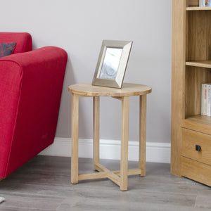 Midhurst Oak Petite Round Lamp Table