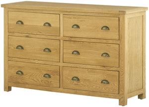 Lulworth Oak Furniture 6 Drawer Chest