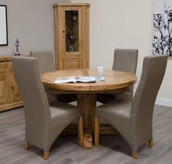 Easebourne Rustic Oak Round Extending Table