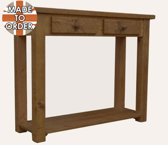 Sherwood Rustic Pine 2 Drawer Console Table