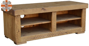 Sherwood Rustic Pine Butchers Block TV Unit 2 Bay