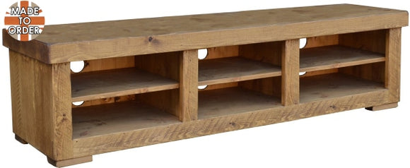 Sherwood Rustic Pine Butchers Block TV Unit 3 Bay