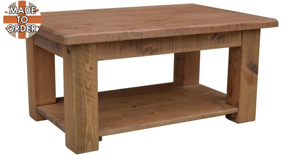 Sherwood Rustic Pine Coffee Table with Shelf