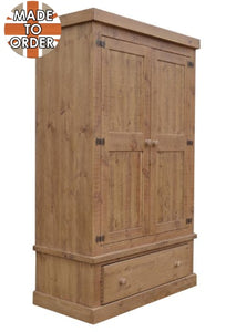 Sherwood Rustic Pine Double Wardrobe with 1 Drawer