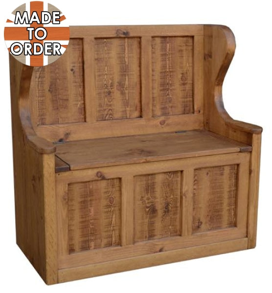 Sherwood Rustic Pine Hall Seat with Storage