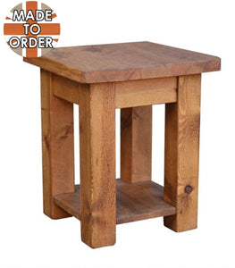 Sherwood Rustic Pine Lamp Table with Shelf