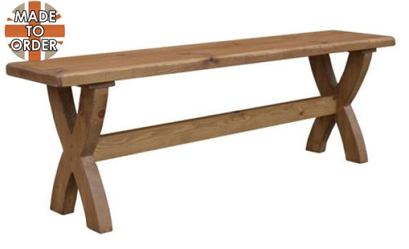 Sherwood Rustic Pine Oxbow Bench 3ft