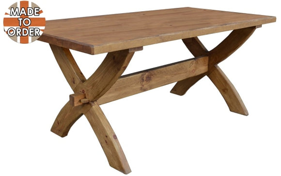 Sherwood Rustic Pine Oxbow Dining Table 4x3