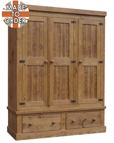 Sherwood Rustic Pine Triple Wardrobe with 2 Drawers