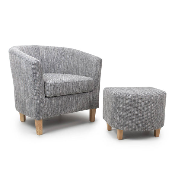 Tub Chair and Stool Set - Tweed Grey